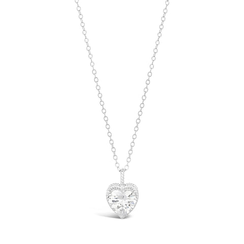 Image of Cubic Zirconium Hammered Solitaire Pendant in Sterling Silver