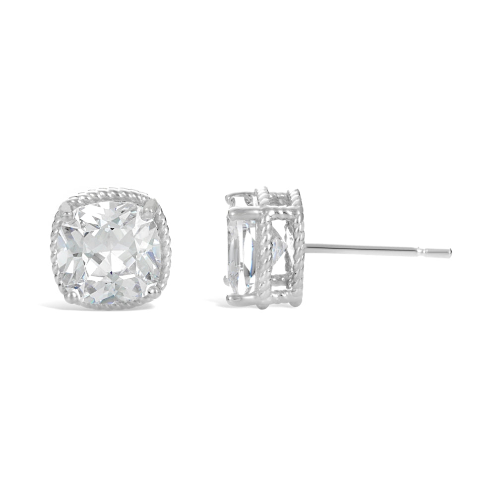 Cubic Zirconium Cushion Solitaire Stud Earrings in Sterling Silver