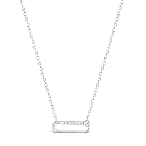 Cubic Zirconium Safety Pin Pendant in Sterling Silver
