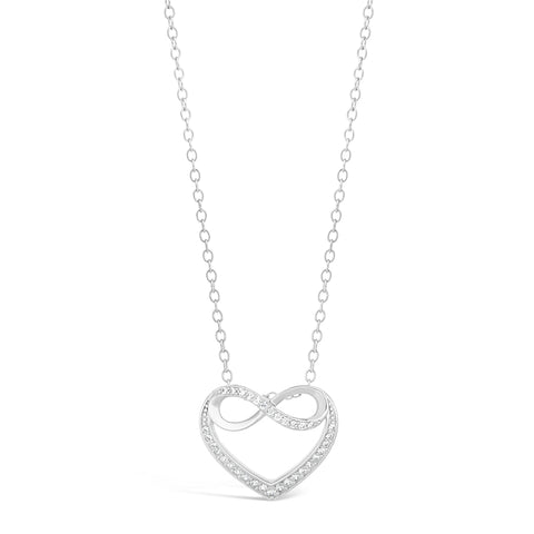 Image of Cubic Zirconium Infinity Hammered Pendant in Sterling Silver