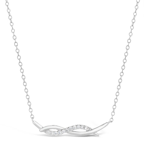 Cubic Zirconium Twisted Pendant in Sterling Silver