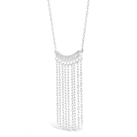 Cubic Zirconium Bar with FRinge Pendant in Sterling Silver