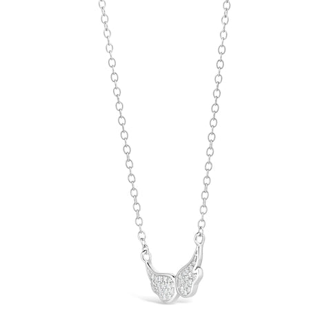 Cubic Zirconium Angel Wings Pendant in Sterling Silver