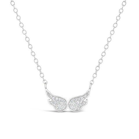 Image of Cubic Zirconium Angel Wings Pendant in Sterling Silver