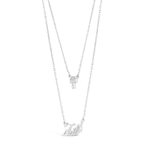 Image of Cubic Zirconium Mini Cross Faith Pendant in Sterling Silver