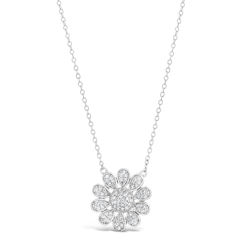 Cubic Zirconium Flower Pendant in Sterling Silver