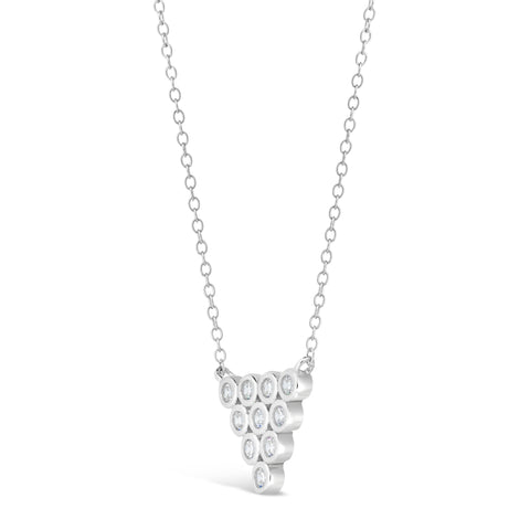 Cubic Zirconium Circle Pyramid Pendant in Sterling Silver