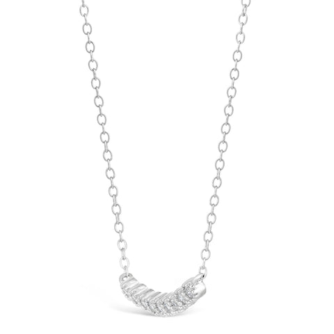 Image of Cubic Zirconium Curved Bar Pendant in Sterling Silver