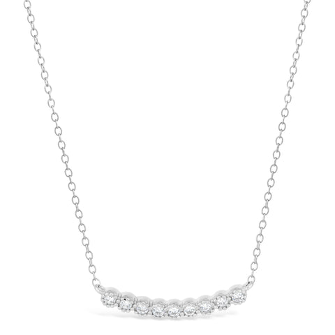 Cubic Zirconium Curved Bar Pendant in Sterling Silver