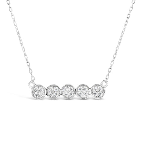 Cubic Zirconium Circle Bar Pendant in Silver