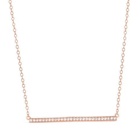 Cubic Zirconium Bar Pendant in Pink Gold Plated Silver