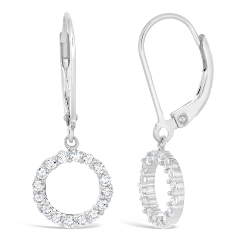 Cubic Zirconium Dangling Circle Lever-back Earrings in Sterling Silver