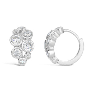Huggie Hoop Circle Cluster Cubic Zirconium Earrings in Sterling Silver