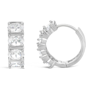 Huggie Hoop Cubic Zirconium Earrings in Sterling Silver