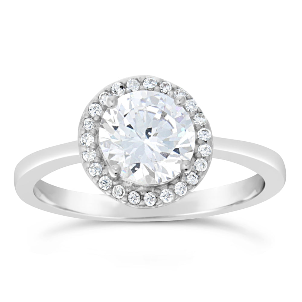 Cubic Zirconium Round Halo Ring in Sterling Silver