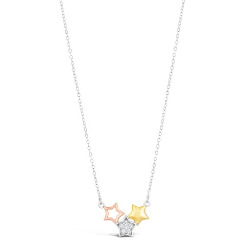 Image of Cubic Zirconium 3 Star Pendant in Silver