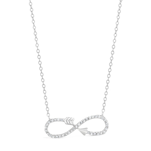 Cubic Zirconium Infinity Arrow Pendant in Sterling Silver