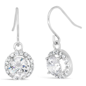 Round Halo Cubic Zirconium Fish Hook Earrings in Sterling Silver