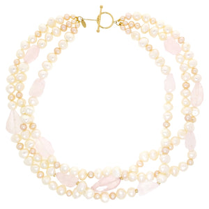 3 Strand Pearl and Rose Quartz Necklace in 10K