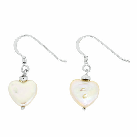 White Hammered Shape Shell Pearl Drop Earrings in Sterling Silver