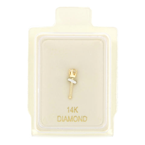 Diamond Accent Straight Stud Nose Ring in 14K Gold