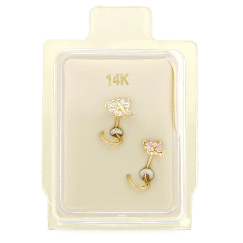 14K Gold Butterfly and Flower Cubic Zirconium Nose Ring Set