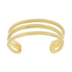 10K Yellow Gold Triple Band Toe Ring Adjustable