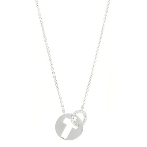 Silver Cutout Cross Pendant with Cubic Zirconium Adjustable Chain