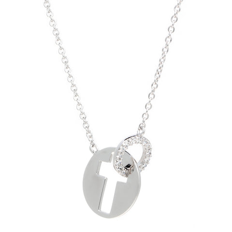 Image of Silver Cutout Cross Pendant with Cubic Zirconium Adjustable Chain
