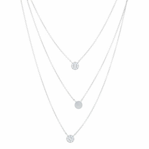 Silver 3 Strand Necklace with Cubic Zirconium