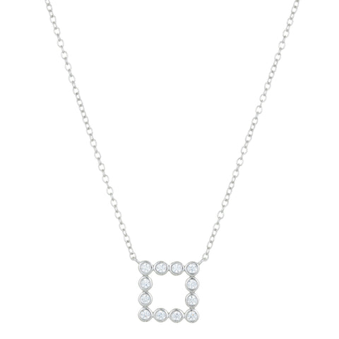 Square Pendant with Cubic Zirconium in Silver
