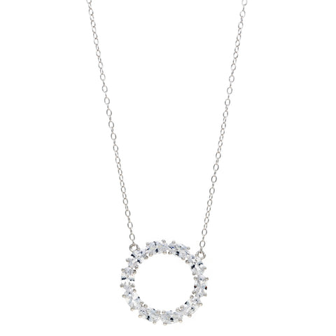 Cubic Zirconium Circle Pendant in Sterling Silver