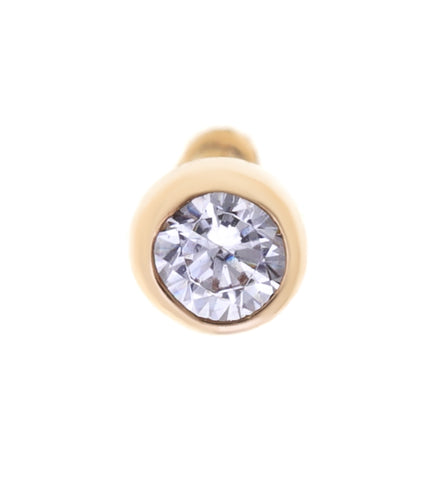 Cubic Zirconium Nose Ring Straight Stud in 14K Gold