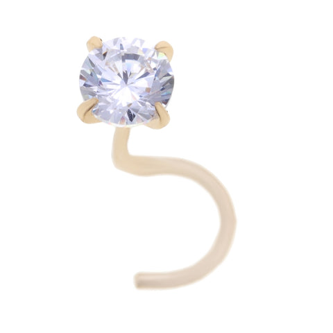 Cubic Zirconium Nose Ring Curve Stud in 14K Gold