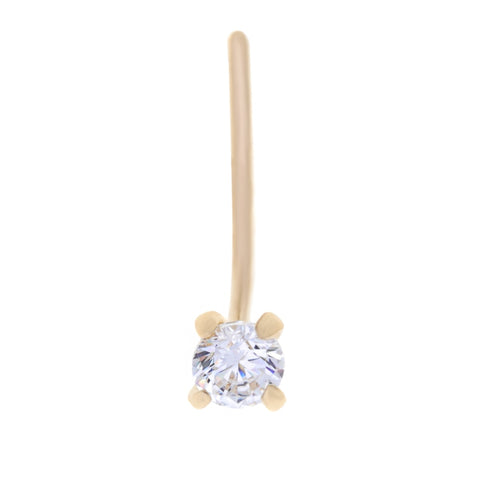 White Cubic Zirconium Nose Ring L-Shape in 14K Gold