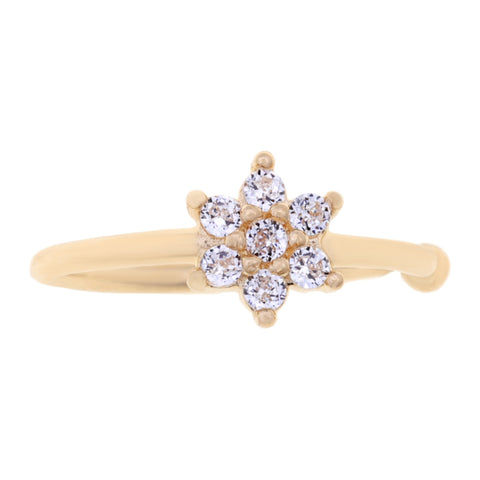 Cubic Zirconium Flower Open Hoop Nose Ring in 14K