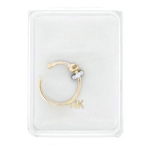 Cubic Zirconium Open Hoop Nose Ring in 14K