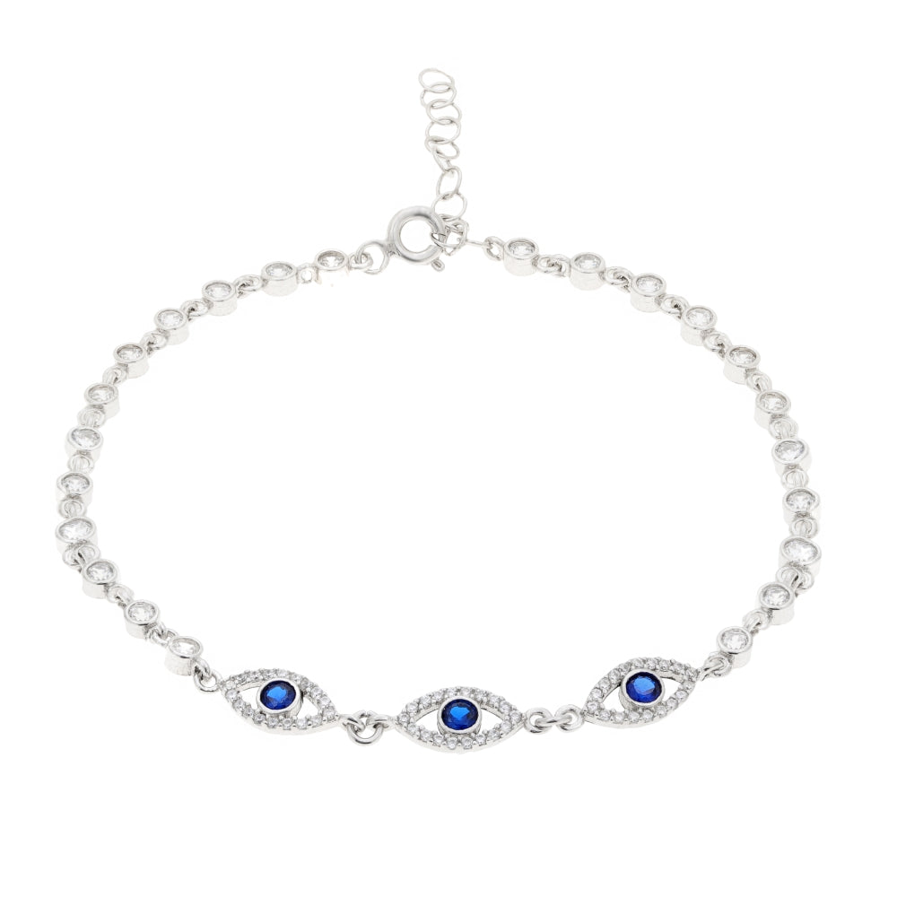 a9051cd62ffcae Triple Blue Evil Eye Cubic Zirconium Adjustable Bracelet in Sterling Silver.  Tap to expand