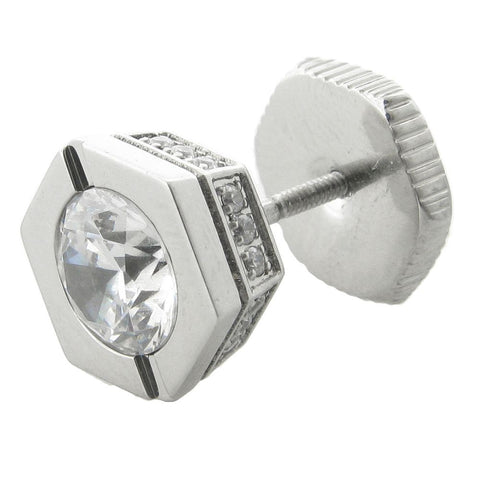 Stainless Steel Cubic Zirconium Mano Stud Hexagon Earring