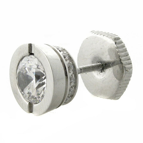 Image of Stainless Steel Mano Stud Round Earring