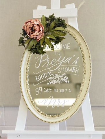 wedding welcome sign - calligraphy on mirror