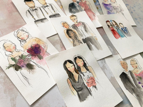 Whimsical water color portraits