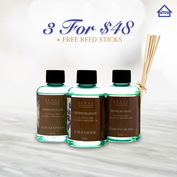 [FLASH DEAL of 3] Alcohol Free Reed Refill | Perfume Reed Refill 135ml | Free sticks - The Sense House