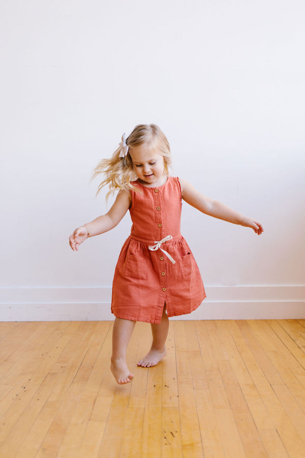 Búho - Andrea Front Buttoned Girl Dress / Terracotta