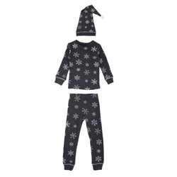 L'ovedbaby | Organic Kids Long Sleeve Christmas PJ's and Cap Set - Frost