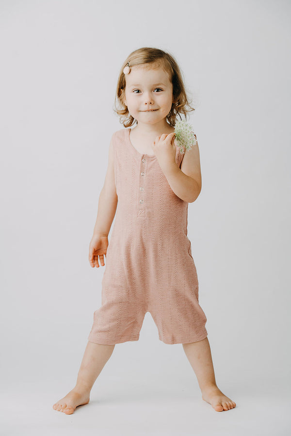 L'ovedbaby | Organic Pointelle Sleeveless Romper - Mauve