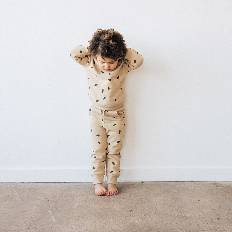 Kidwild | Organic Fleece Joggers - Leaves/Oat