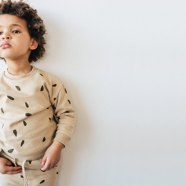 Kidwild | Organic Fleece Sweatshirt - Leaves/Oat
