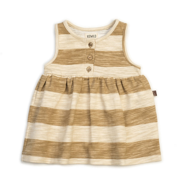 Kidwild | ORGANIC TANK DRESS - HONEY STRIPE