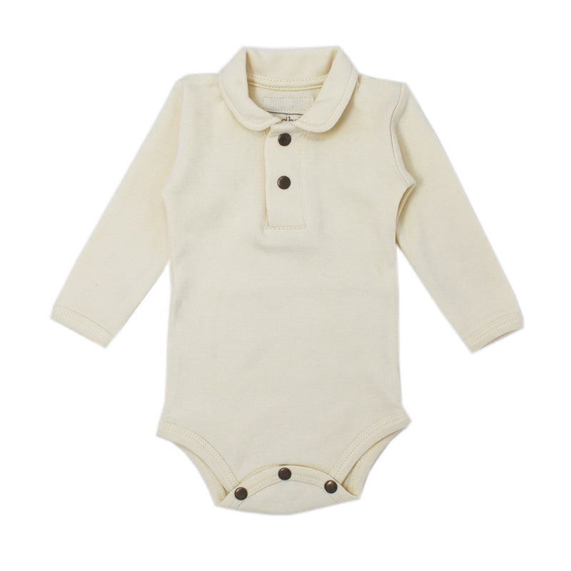L'ovedbaby | Organic Polo Bodysuit in Beige